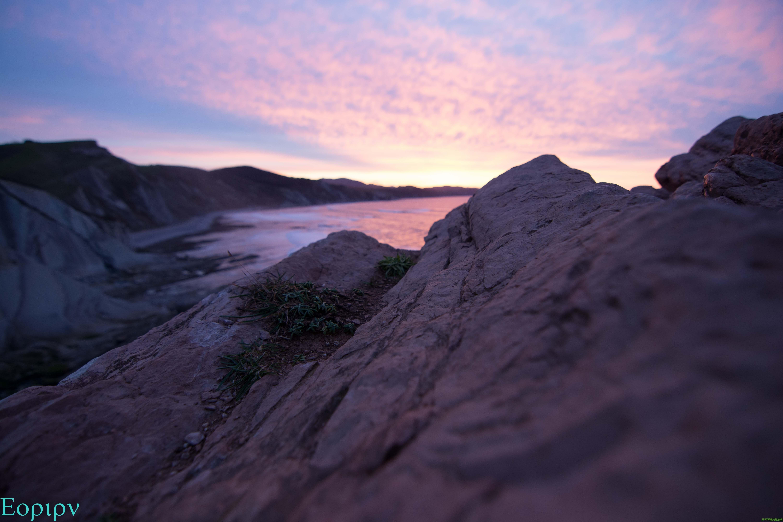 Puesta de sol en la punta de Algorri