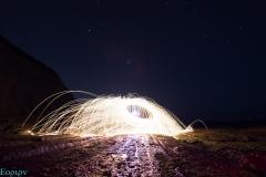 Lightpainting en la playa de Algorri